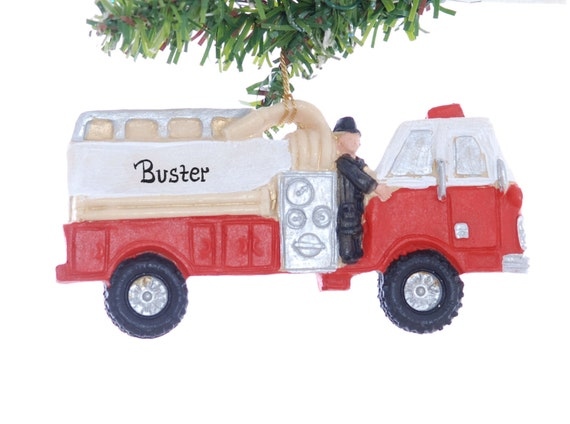 Personalized Fire Truck Christmas Ornament - Red firetruck ornament personalized free with your choice of name - made from resin in America