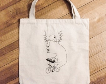 "Canvas Bag ""I Like To Play"" screen printed illustration"