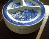 10 Vintage Blue Willow Divided Serving Plates in the  timeless classic blue transfer print displayed on each section in Mint Condition