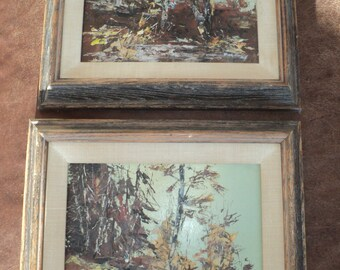 2 Retro Mid Century Modern Original Oil Paintings of Impressionistic Woodland Landscape signed The Artist Dick Henley in Very Good Condition