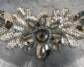 Gold Sequined Floral Stone Beaded Appliques