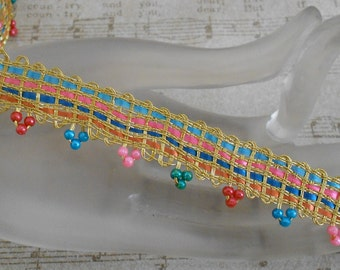 Multi Colored Gold Braided Beaded Trim