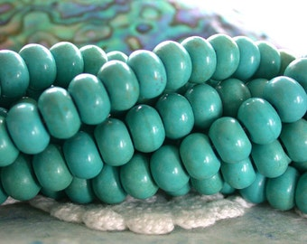 Sale, Closeout, Destash Beads, 1 Strand ~ 8mm Turquoise Rondelle Beads, Chalk Turquoise Beads, Destash Supplies DS-SP-255