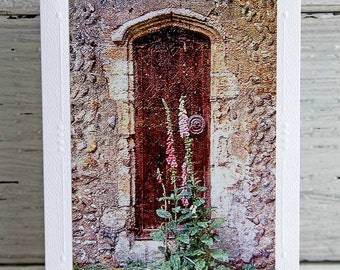 Medieval Church Door Photo Greeting Card, White Blank All Occasion Notecard, English Countryside, Fine Art Photography