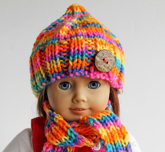 American Girl Doll Hand Knitted Bright Multi-Colored Winter Accessories, Hat, Scarf and Leg Warmers for 18 Inch Doll