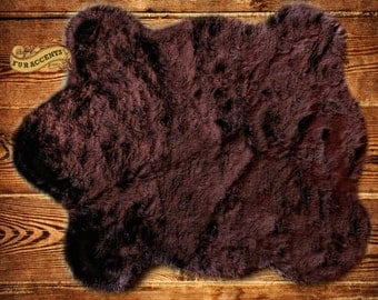 Bear Skin  Accent Rug / Bear Pelt Design / Shaggy Faux Fur  / All New Sizes and Colors