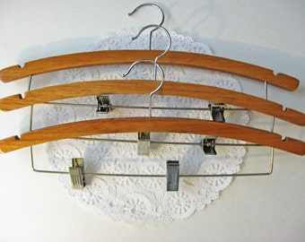 Vintage Wooden Clamp Hangers - SET OF THREE - Large Size - Great For Suits