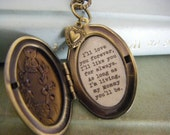 I'll Love You Forever I'll Like You For Always, Mommy Locket, Oval Bronze Locket, Mother's Day,  Gift For Mom , Quote Locket