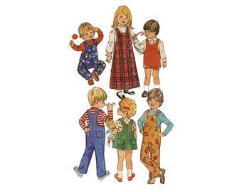 Vintage 1970s toddler jumper, overalls, size 1, boho kids sewing pattern, boys jumpsuit, girls dress, childs shorts, Simplicity 5382