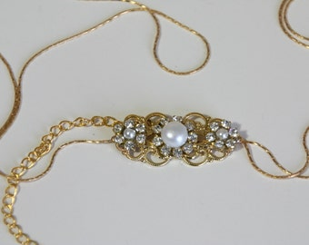 Bridal Gold Belt Sash Rhinestone Crystal Pearls Victorian Vintage Style Luxe Jewelry Wedding Dress Belt Accessory Unique Bridal Sash Chain