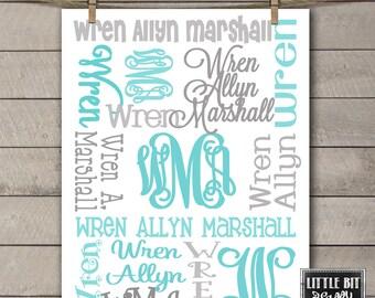 Personalized Baby Blanket Monogrammed Custom Blanket Baby Shower Gift Blue Gray