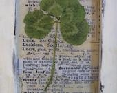 "Vintage Four Leaf Clover Print Good Luck Four Leaf Clover Vintage Botanical Saint Patricks Day Shabby White Frame, 3 3/4"" x 4 3/4"""