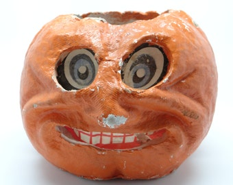 1940's Halloween Jack-O-Lantern with Original Insert, made with Pulp Paper Mache