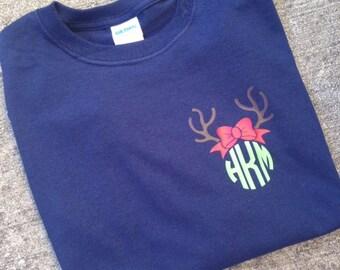 Monogram Personalized Long Sleeve Christmas Tee Tshirt