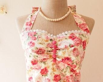 Wedding Dress Bridal Shower Dress Floral Bridesmaid Dress Tea Length Dress Floral Tea Dress Vintage Floral Dress -XS,S,M,L,XL,Custom
