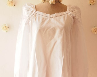 Boho Bohemian Blouse Emily Blouse White Romantic Cotton Blouse Summer Shirt Beach Tribal Clothing - Size S-M