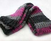 SALE! Pink and Gray Stripe Knit Scarf, Loom knit scarf, Teen Scarf