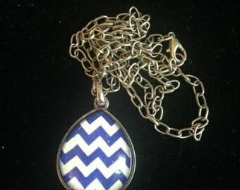 Blue & White Chevron Glass Pendant on Silver Chain