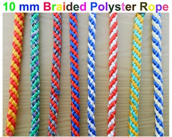 "10 mm 3/8"" polyproplyne Braided Rope DoubleColour Braid Polyester Ropes x 2 yard -jawahr"