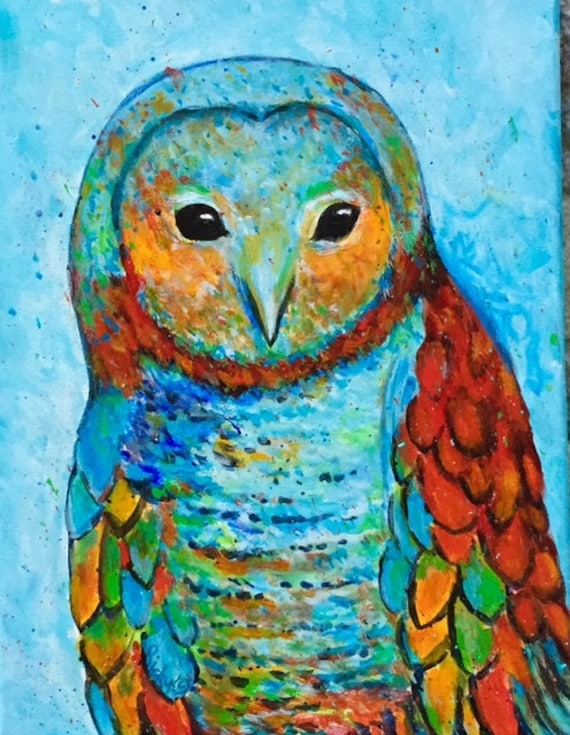 Items similar to Abstract Owl, Teenager, Kid's Room, Baby ...