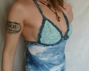 Blue Sky Halter Top, blue apron top, crocheted hippie top