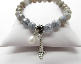 Precious Gemstone Labradorite Blue Gray Faceted Bracelet with Fresh Water White Pearl and Sterling Silver