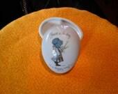 Holly Hobbie  ceramic egg shaped trinket ring box 1973 footed