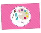 Personalized Placemat for Girl - Art Party Personalized Placemat - Custom Placemat - laminated, double-sided