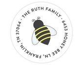 Honey Bee Return Address Labels / Stickers - Personalized Address Labels for Kids - Round Return Address Labels