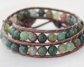 double wrap bracelet - wrapped leather - beaded wrap - jasper jewelry - agate wrap - beaded leather - ships free