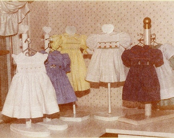 "Doll Pattern / 18"" Doll / Smocked Yoke Dress / 2 Pinafore Patterns /  by Carol Clements"