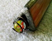 Vintage OOAK Handmade Stained Glass Prism - Clever Attachment of Marble on the Outside - A True Visual Delight - Great Collector's Item