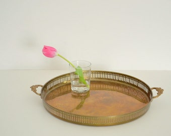 boho round brass serving tray