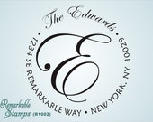 Round Address Stamp  - Designer Elegant Monogram Script Flourish  - Custom Personalized Etsy Design (R1002)