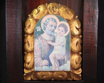 Picture of Jesus, Christian Art, Vintage Icon of St Joseph with Baby Jesus, Religious Art, Wall Decor, Vintage Art, Home Decor, Collectibles