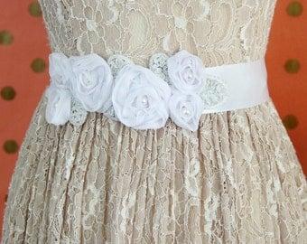White Chiffon Pearl Beaded Flower Sash, Bridal Sash, Bridesmaid Sash, Flower Girl Sash,  First Communion Sash SH-67