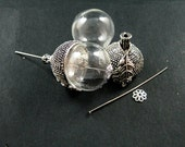 6pcs vintage style antiqued silver oak nut 18mm glass beads dome set DIY pendant charm supplies 1830051
