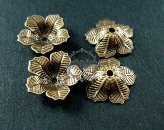 10pcs 16mm vintage style brass bronze antiqued flower beads cap DIY beading jewelry supplies 1561006