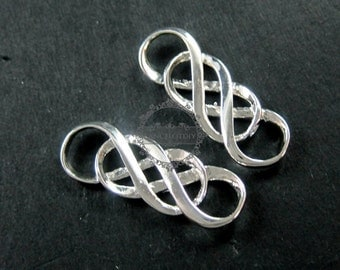 6pcs 10x30mm silver plated double infinity timeless forever DIY pendant charm supplies 1820200