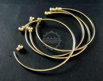 5pcs 2mm thick wire one end open brass 14K light gold plated wiring bangle bracelet cuff DIY supplies 1900090