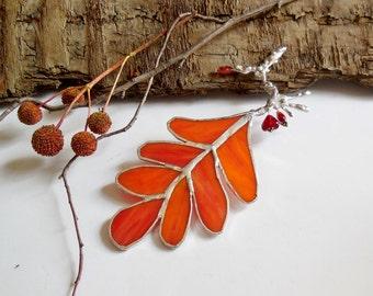 Orange Autumn Leaf. Stained Glass Suncatcher. Orange Oak Leaf. Woodland