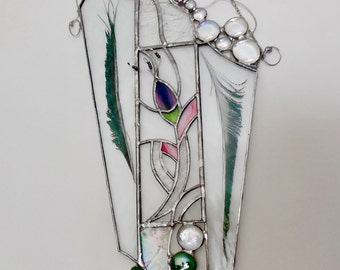 Stained Glass Panel. Abstract Art With Feathers. Home Decor. OOAK Glass Panel.