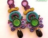 Soutache Earrings- Swarovski Crystal Statement Earrings- Dangle Long Earrings- OOAK Earrings-Soutache set-Mystic Earrings-Turqouise Earrings