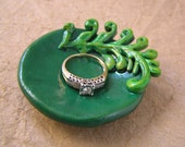 Fern ring dish, handmade and hand painted