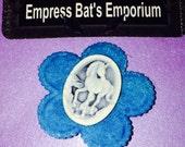 Kawaii Blue Unicorn flower felt and resin brooch