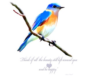 Painted Blue Bird with Anne Frank Quote Print and Note cards