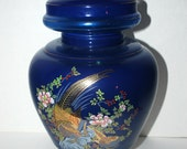 Glass Ginger jar 20 inches tall #Gingerjar hand painted cobalt and gold glass gold pheasants on glass