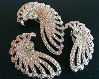 Sarah Cov Brooch Earring Demi Set Clear Rhinestones & Marcasites Silver Metal Vintage