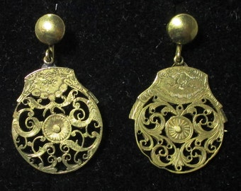 Antique Verge Fusee watch balance earrings - Father time motif - clip on earrings - brass / gold plated
