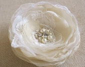 Bridal Lace Flower, Wedding Hair Flower, Bridal Flower Hair Clip, Headpiece, Vintage Rustic Hair Accessory, Champagne, Ivory, Beige, Sand
